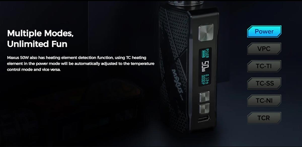 FreeMax Maxus 50W Kit modes