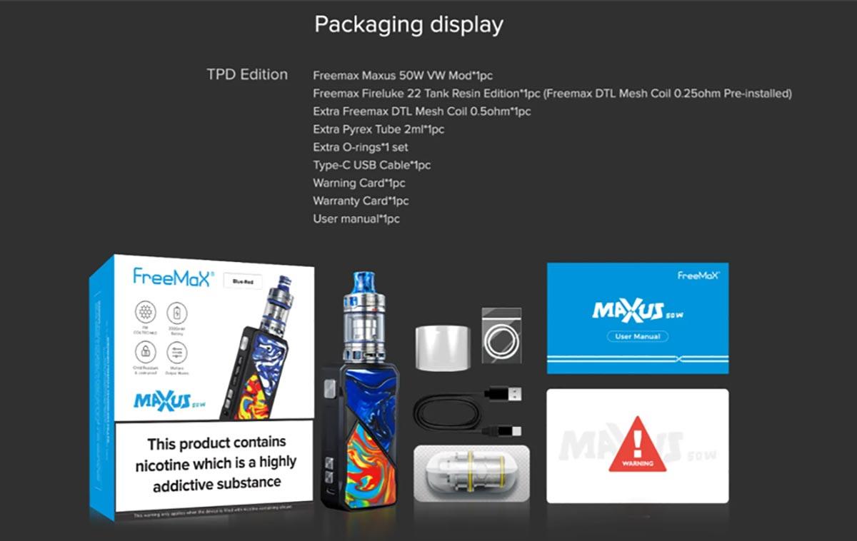 FreeMax Maxus 50W Kit packaging