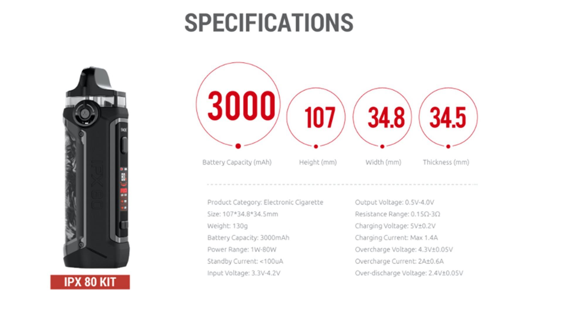Smok IPX 80 spec