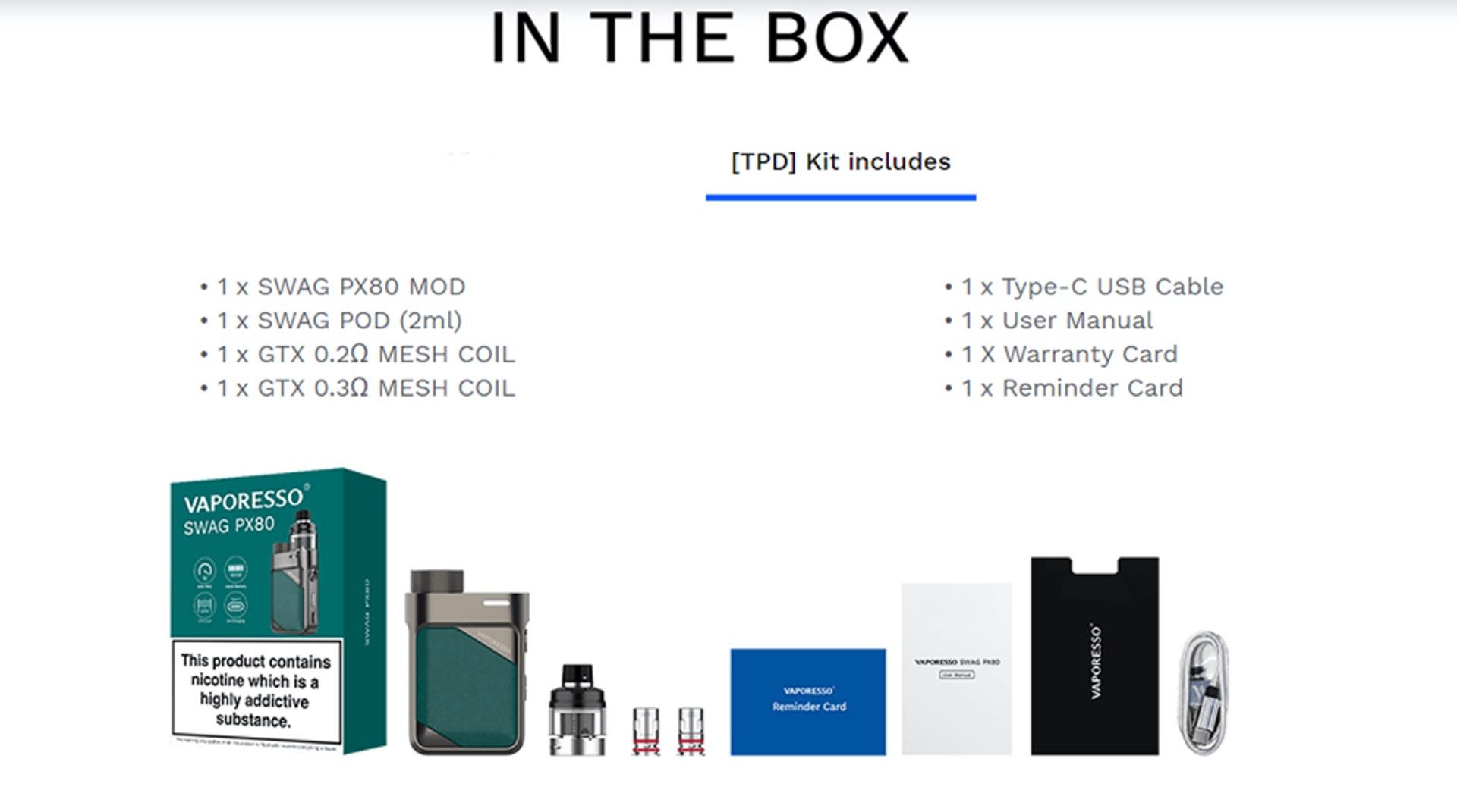 Vaporesso SWAG PX8o in the box