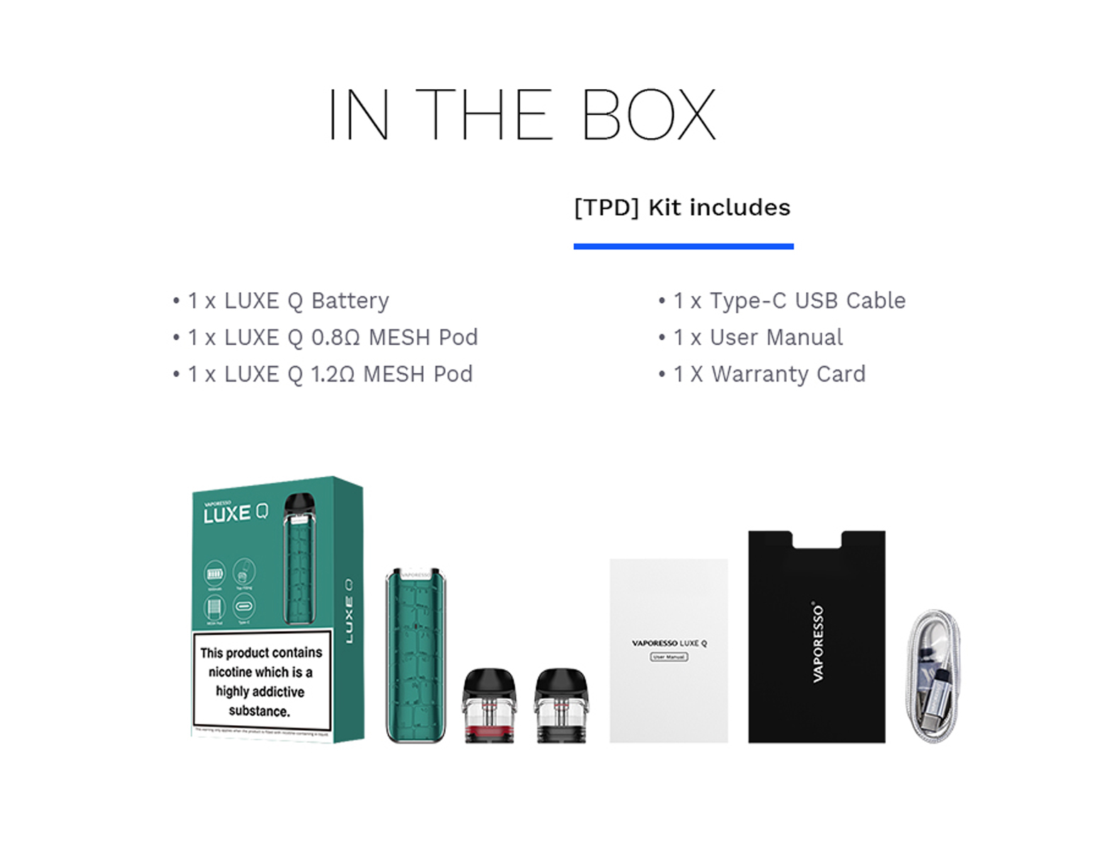 Vaporesso Luxe Q pin the box