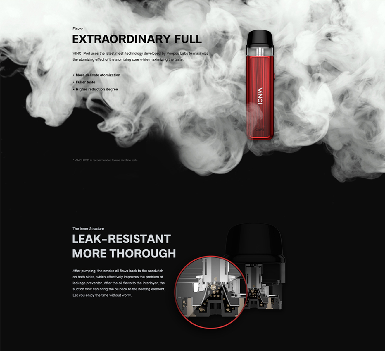 Voopoo Vinci Pod leak resistant