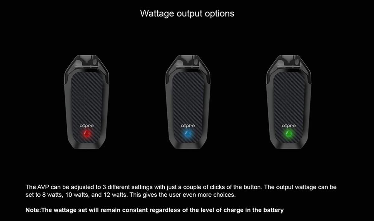 Aspire AVP wattage
