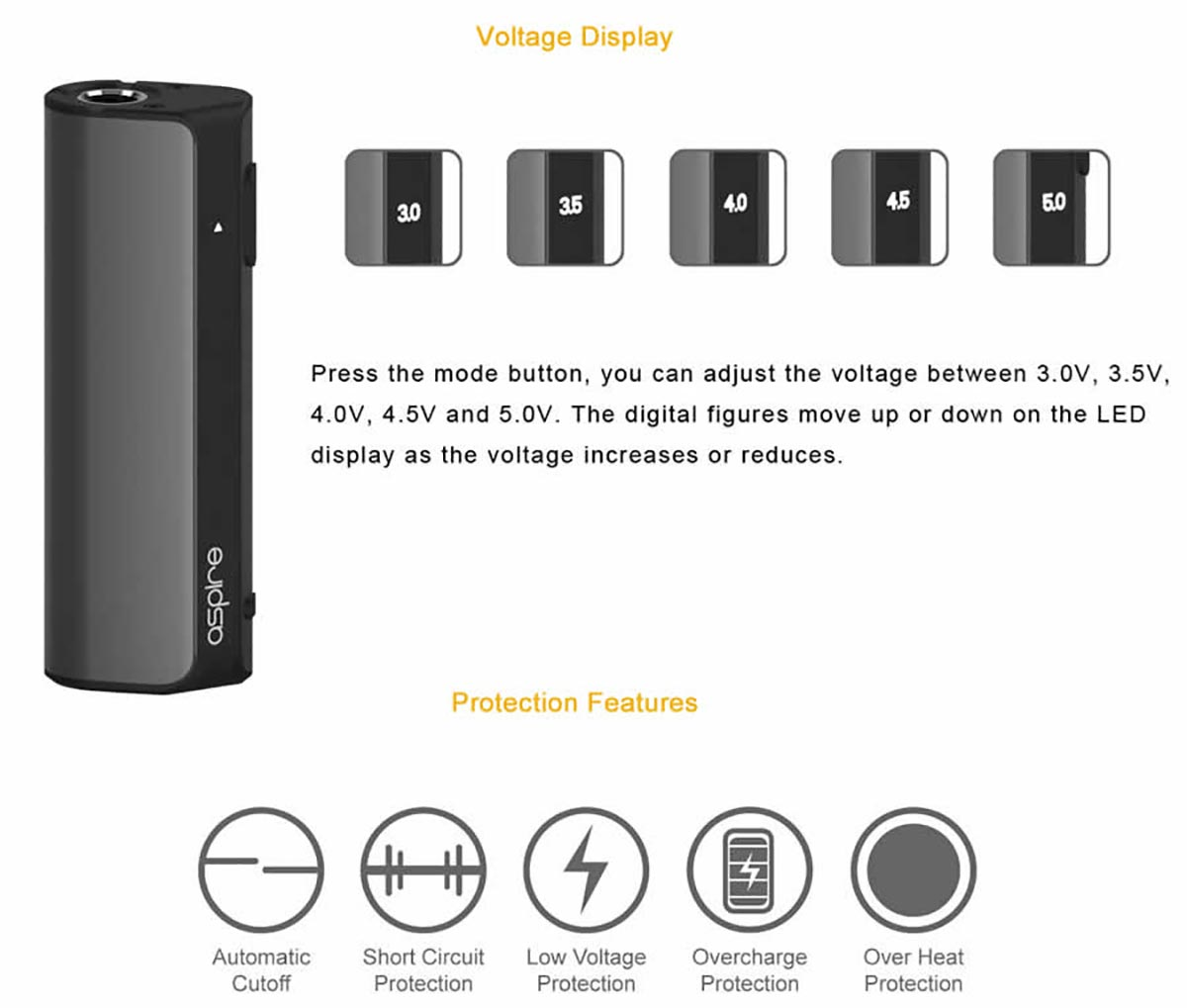 Aspire K-Lite Kit voltage