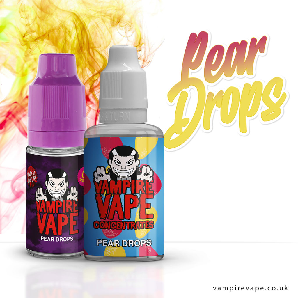 Pear Drop 10ml e-liquid bottle and 30ml concentrate