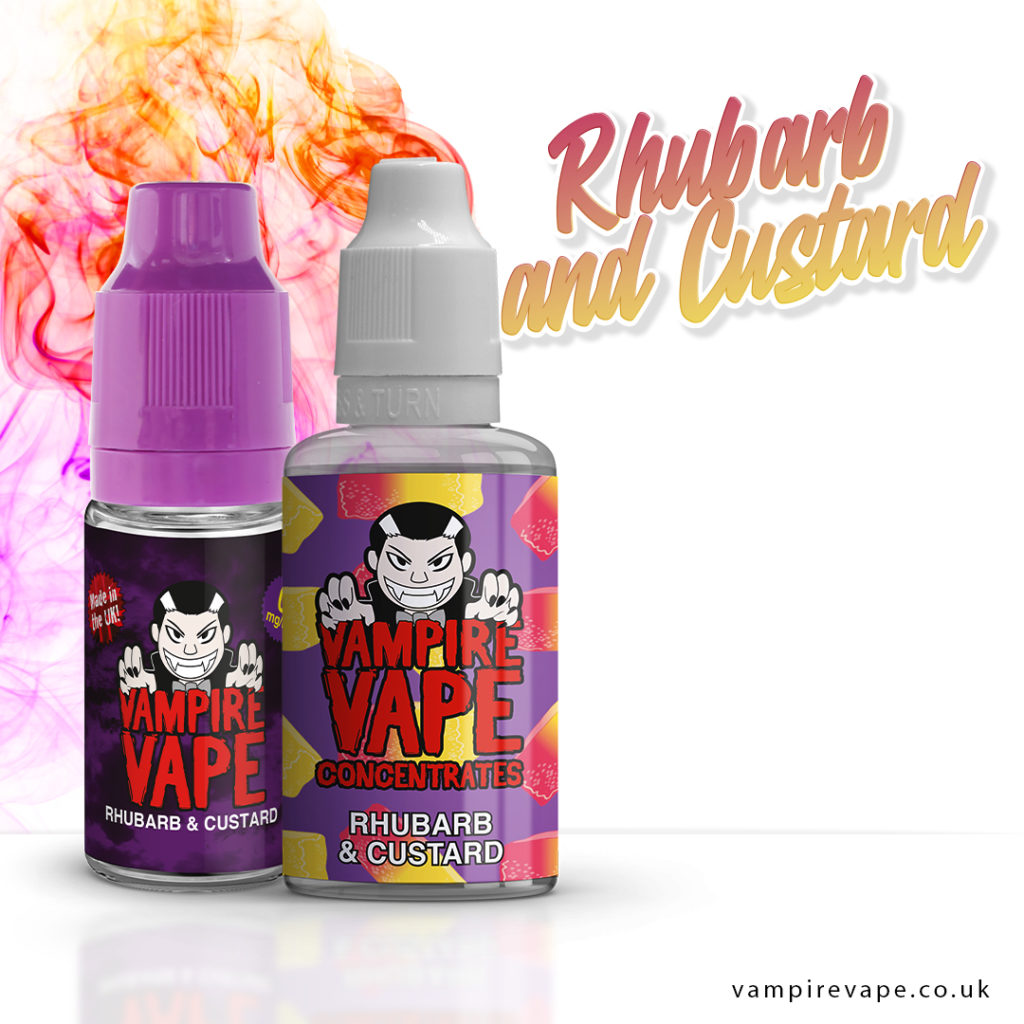 Rhubarb and Custard 10ml e-liquid bottle and 30ml concentrate
